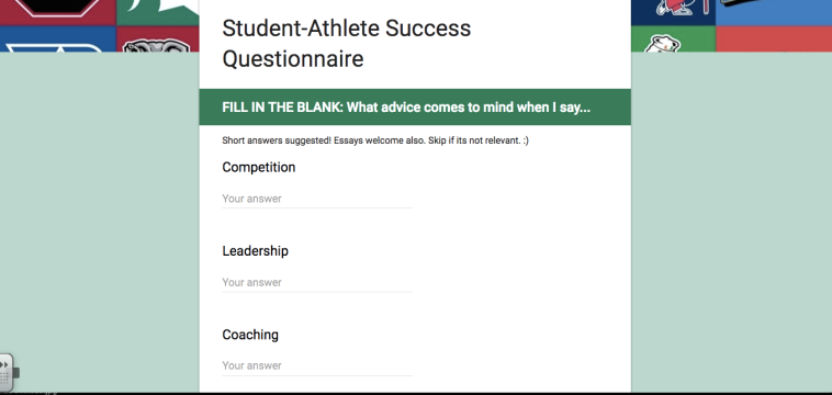 Student Athlete Success Questionnaire Paladinjordan.com skoolhaze.com 2